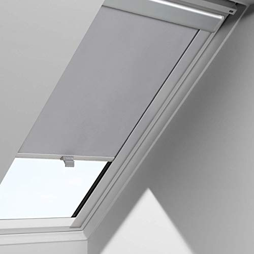 iKINLO Dachfensterrollo 97.3 x 116cm - S08/608 Grau Beschichtung für Velux Verdunkelungrollos Dachfenster UV Schutz Thermorollos Springrollos ,Profilfarbe der Griffleisten: Silber