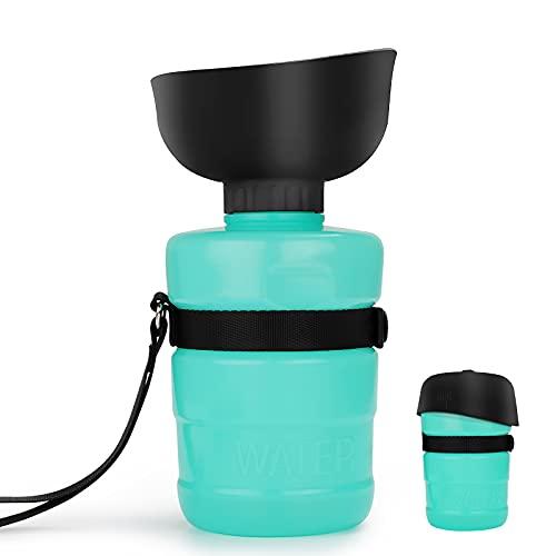 Yuragim Botella de silicona para perros, botella de agua 2 en 1, plegable, para mascotas, botella de agua de 520 ml, botella para beber para perros, para exteriores, paseos, camping, senderismo