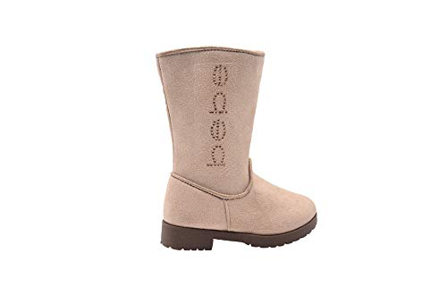 bebe Toddler Girls Little Kid Easy Pull On Tall Microsuede Winter Boots Embellished with Glitter Trim and RhinestonesSize 9 M US Toddler Tan