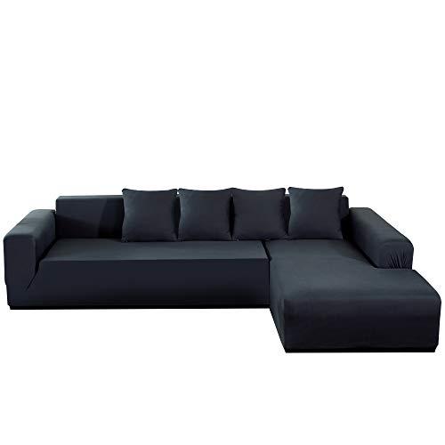 Fundas de sofá esquineras de 3 plazas, antimanchas y extensibles, protector de sofá para animales de compañía / niños, funda de sofá en forma de L de poliéster + 4 almohadas (gris)