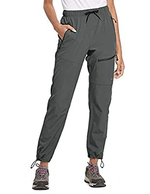 BALEAF Women's Hiking Cargo Pants Outdoor Lightweight Capris Water Resistant UPF 50 Zipper Pockets Steel Gray Size XL