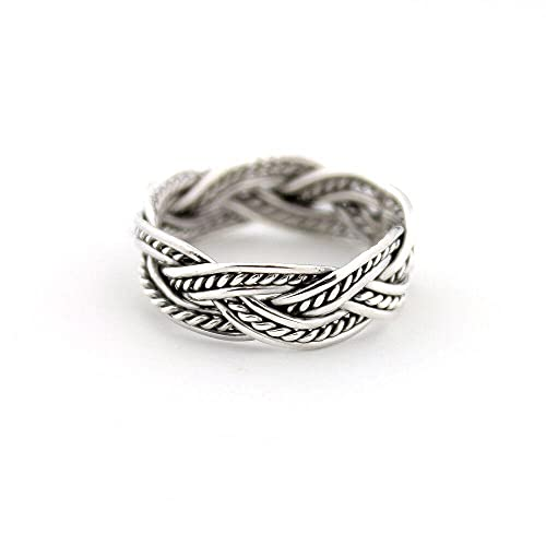 Sterling Silver 925 Celtic knot Tribal Ring, Celtic Knot twisted Band Ring, Elegant Women Jewelry, Plain Braided Women/Girl Ring (7)
