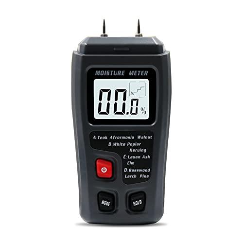 Medidor de humedad, LCD Digital Medidor de humedad Tipo Pin Detector de humedad para madera Leña Paredes Reglas Material de construcción