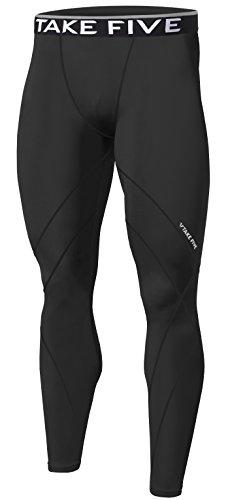 New Men Skin Tights Compression Base Under Layer Sports Running Long Pants (M, NP531 Black)