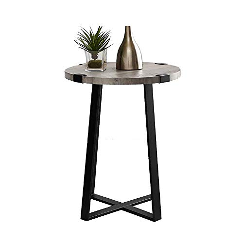 Xiaolin Nordic Industrial bijzettafel van hout, kleine salontafel rond metalen frame keuken slaapkamer