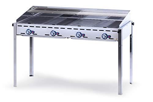 HENDI Grillsystem Green Fire 4 Brenner, mit 2 emaillierte Gusseisen-Grillplatten & 2 Rost GN 1/1, mit Windfang, nur für Verwendung im Aussenbereich, 1400x612x(H)825mm, 22kW, Edelstahl 18/0
