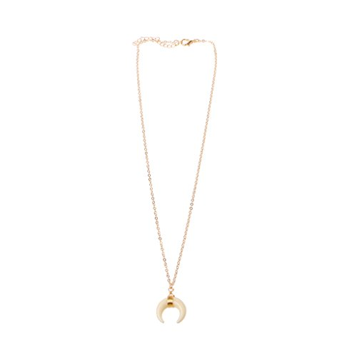 VIccoo Ivory Bone Double Horn Necklace Crescent Moon Chokers Pendant Necklace For Women - Gold