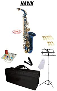 Hawk Blue Alto Saxophone School Package with Case Reeds Music Stand and Cleaning Kit WD-S416-BL-PACK
