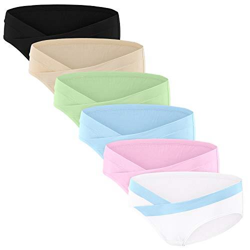 HBselect 6er Unterhosen für Schwangere Umstandsmode Hösschen Damen Unterwäsche aus Baumwolle Schwangerschaft Postpartum Slip