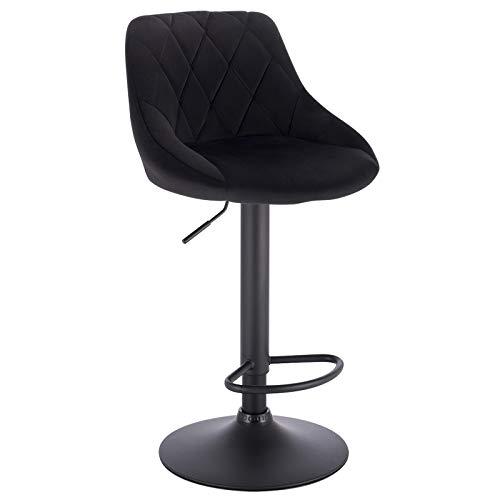 WOLTU BH219sz-1 1er Barhocker Barstuhl, Gute gepolsterte Sitzfläche aus Samt, Höhenverstellbar, 360° Drehbar, Farbwahl, in Schwarz