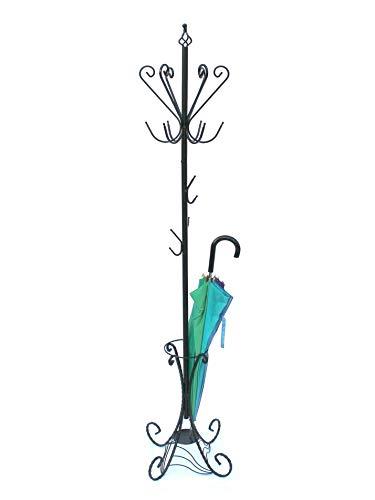 DanDiBo Garderobenständer Schwarz Metall 210 cm Art.156 Garderobe Kleiderständer Antik Schirmständer Eisen Kleiderständer (Schwarz)