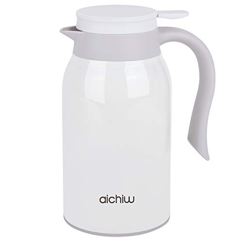 Small Thermal Coffee Carafe, Stainless Steel Coffee Thermos,Double Walled Vacuum Flask, Water Kettle Cold & Hot for Hours (Pearl White)