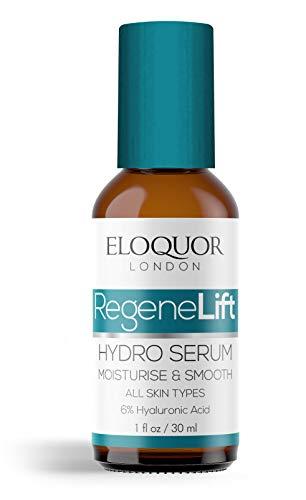 Eloquor RegeneLift Hydro Serum - Hydratant anti-âge pour le visage à l'acide hyaluronique, huile de jojoba et vitamines pour rides, ridules, acné, cicatrices et peaux sensibles - Naturel et biologique