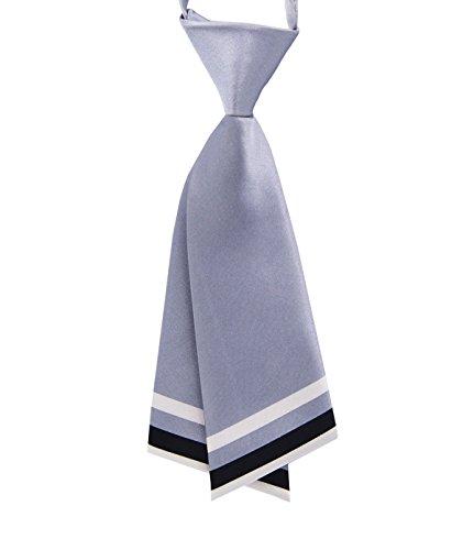 GZZOU Woman Tie, Ladies Fashion Solid Color Pre-Tie School Style Silk Necktie (Gray)