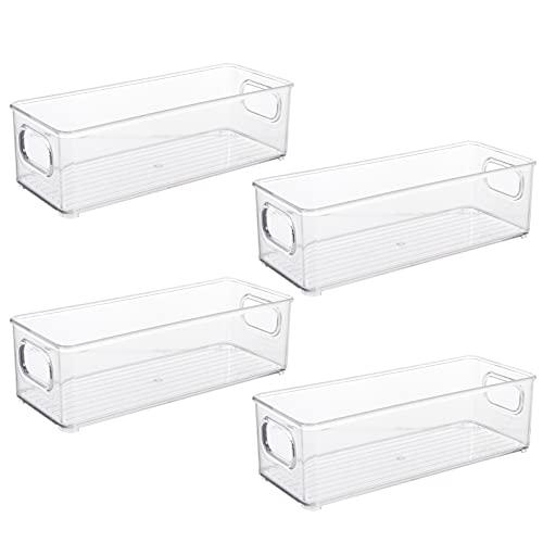 NUOBESTY 4 st kylskåp förvaringslådor i plast genomskinlig kylskåp förvaringsbox kylfack fräscht hålla matbehållare frys skåp skåp