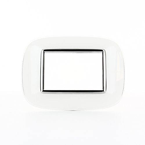 BTicino HB4803DB Axolute Placca Ovale, 3 Moduli, Bianco Liquido