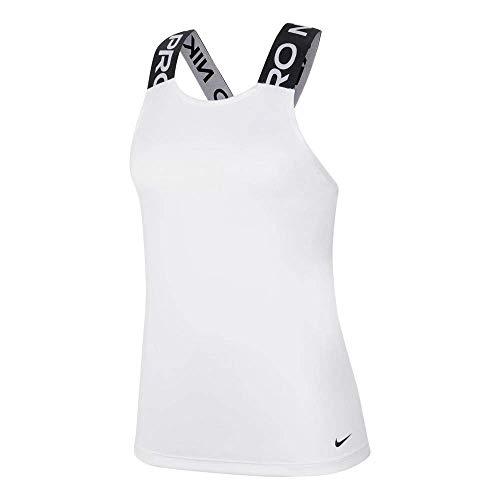 Nike W NP Dry ELASTIKA Tank ESS Débardeur Femme, White/Black/(Black), FR : M (Taille Fabricant : M)
