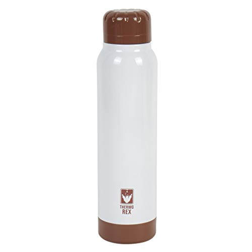Thermo Rex Peak thermosfles, 250 ml, wit/goud, met deksel, houdt tot 18 uur warm of koud, van roestvrij staal, nagenoeg onbreekbaar en herbruikbaar, lekt niet.