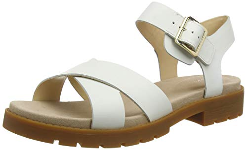 Clarks Damen Orinoco Strap Slingback Sandalen, Weiß (White Leather White Leather), 38 EU