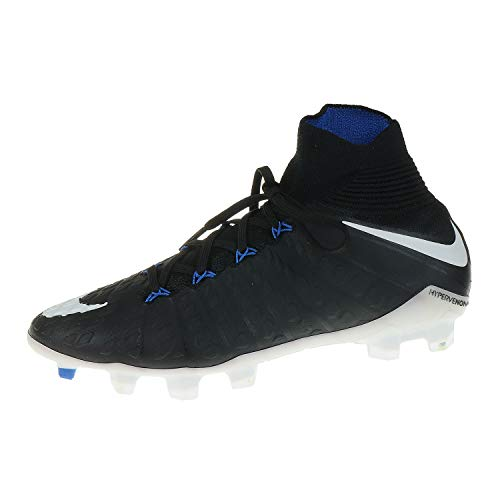 NIKE JR Hypervenom Phantom 3 DF FG - Zapatillas de fútbol, Unisex Infantil, Negro - (Black/White-Game Royal)