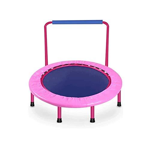 Sdesign Trampolín de aptitud interior, trampolín plegable con pasamanos ajustables, rebote de rebote para niños, niños, mejor ejercicio aeróbico, equipo de fitness en el gimnasio o en el hogar al aire