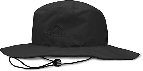 normani Wasserdichter Sonnenhut 2-in-1 Hut - 100% Wind- und wasserdicht, UV-Schutzfaktor 30+ [S-3XL] Farbe Schwarz Größe M/57