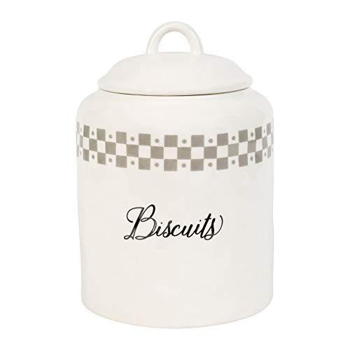 Comptoir de Famille Pot à Biscuits Couvercle Gris Blanc 17 x 24 cm