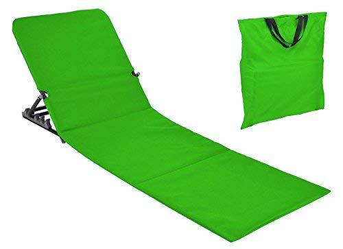Spetebo Strandmatte faltbar mit Rückenlehne - grün - Sonnenliege Strand Liege Matte Gartenliege