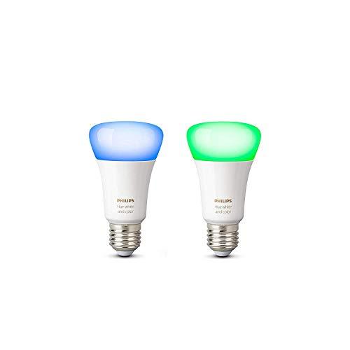 Philips Hue White and Color Ambiance - Set de 2 bombillas LED E27, 6.5 W, iluminación...