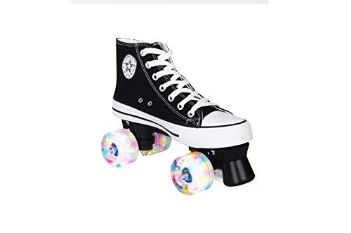 LENI Canvas High Skate Rollschuhe Street Roller Rollerskates Vier Runden Roller Skates,Classic Roller, Rollschuhe für Kinder, Jugendliche und Erwachsene (Schwarz, EU:43)