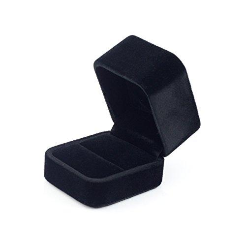 Premium hohe quadratische lang-Pile-Velvet Ring Box/Geschenkbox - schwarz