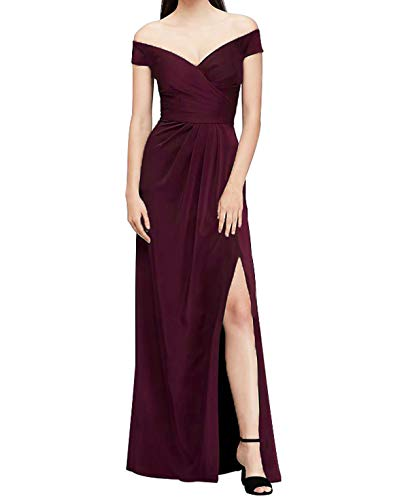 Viloree Damen Ärmellos V-Ausschnitt Brautjungfer Cocktail Langes Kleid Ballkleid A-Linie Burgundy S
