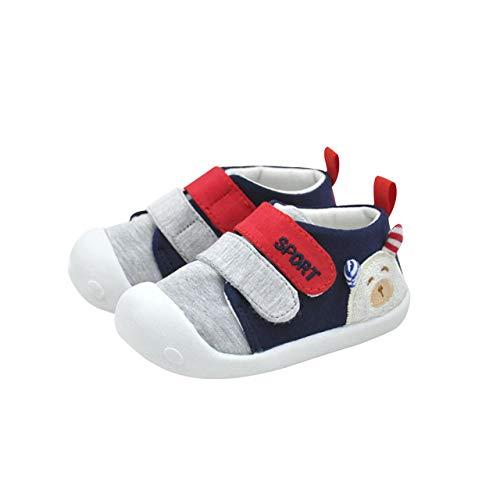 DEBAIJIA Bebé Primeros Pasos Zapatos 1-2 años Niños Niñas Infante Antideslizante Suave Suela Algodón Transpirable Ligero 18 EU Azul Marino (Tamaño de la etiqueta-14)