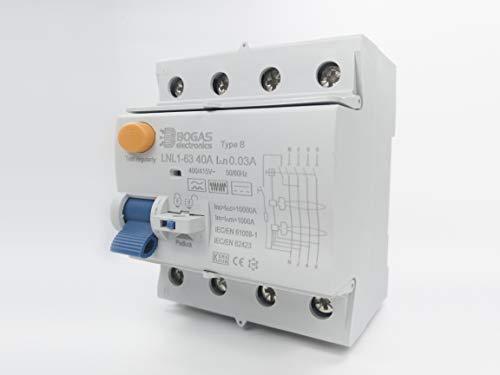 Interruptor Diferencial 40A de Clase/Type B, 4P (3P+N), 30mA y 10kA