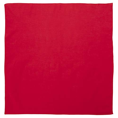 """100% Cotton Solid Color Blank Handkerchiefs (14"""" x 14"""") - Red Single Piece - For Custom Printing, wristband and more - Double Sided Blank Color"""