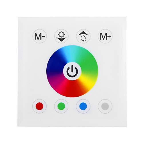 Haofy Interruptor de Pared con atenuador LED, Interruptor de atenuación del Controlador, Interruptor de Panel táctil montado en la Pared para iluminación de Tira de LED de Color RGB(Blanco)