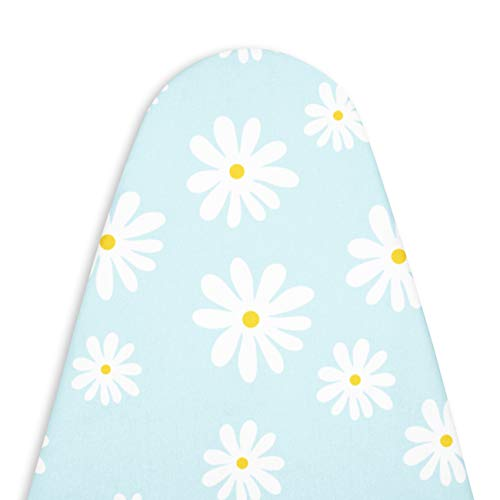 Encasa Homes Replacement Ironing Board Cover with Thick Felt Pad Drawstring Tightening Fits Standard Large Boards of 15 x 54 inch Scorch amp Stain Resistant Printed  Daisy Blue