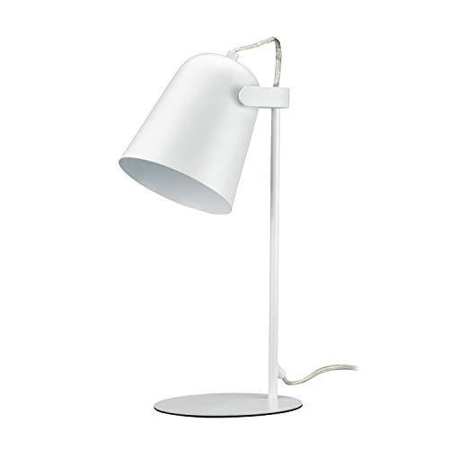POPPLámpara de mesa escritorio Vintage Elegante diseño retro minimalista casquillo E27(No incluido bombilla) Color Negro,Blanco,Gris,Hotel Salón Dormitorios (Blanco, Modelo 1)