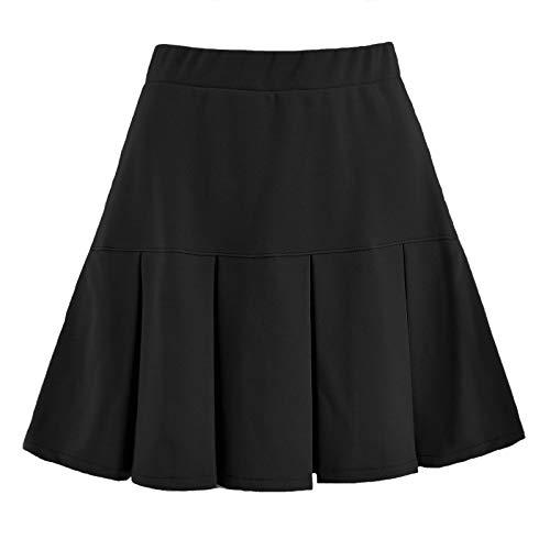 Las mujeres de verano faldas plisadas elásticas falda corta elástica cintura alta patinador falda casual color sólido/impresión a cuadros falda casual elegante tenis básica mini falda, Negro-b, 48