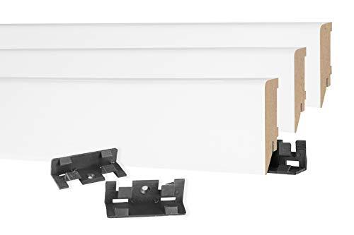 HEXIM Sockelleiste Modern 19 x 70mm - MDF Fußleiste für Fließen, Laminat, Vinyl & Teppich - 2,4 Meter MS7019 - Laminatleiste Fussleiste Sockelprofil Bodenleiste