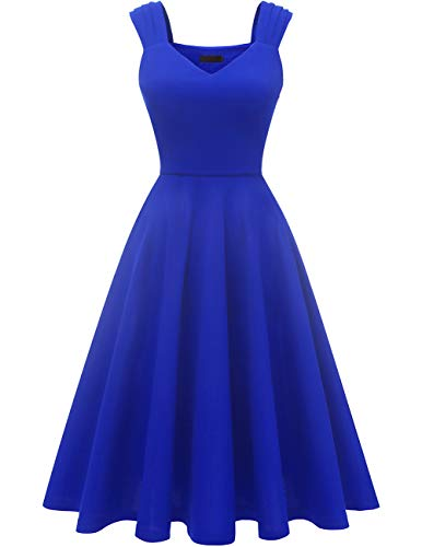 DRESSTELLS Damen 1950er Midi Rockabilly Kleid Vintage V-Ausschnitt Hochzeit Cocktailkleid Faltenrock Royalblue M