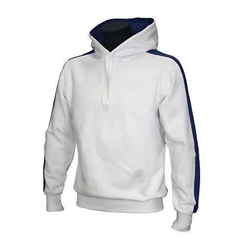 Footex Felpa Cappuccio Made in Italy New Team Bianco Blu Royal, S