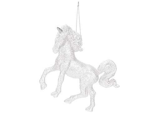 TOYLAND® 16cm Pearl White Gliter Decorado Unicornio Árbol de Navidad Decoración