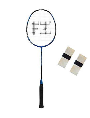 FZ Forza - Badmintonschläger Power pro 86 - Vollgraphit Racket für Fortgeschrittene - tolle Allround Eigenschaften - besaitet - blau + 2 Overgrips gratis