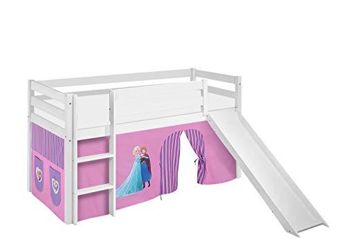 Lilokids Spielbett Jelle Eiskönigin, Hochbett mit Rutsche und Vorhang Kinderbett, Holz, lila, 208 x 98 x 113 cm