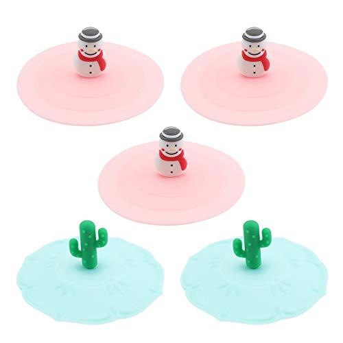 UPKOCH 3 Piezas de Silicona Glasabdeckung Taza Tapa Taza Taza Sbdeckung Tornillo Tapa Taza Protectora (Zufälliges Modelo), 5pcs, pequeño