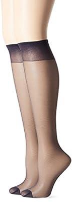 Hanes Silk Reflections Women's Knee High Reinforce Toe 2 Pack, Class Navy, One Size