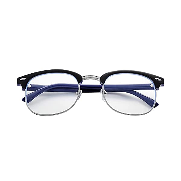 Blue Light Blocking Glasses for Women Men Classic Semi Rimless Fake Nerd Anti Blue Ray Computer Eyeglasses