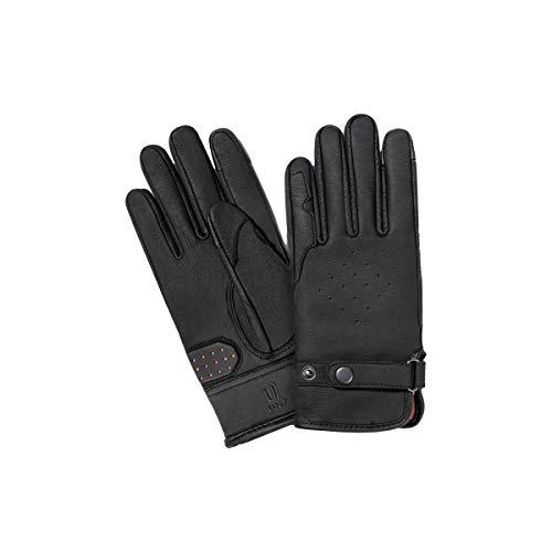 UJET Damenhandschuhe, Vollfinger-Handschuhe aus Leder mit Touchscreen-Bedienung für Scooter-, Leichtkraftrad- und Motorrad-Fahrer (S)