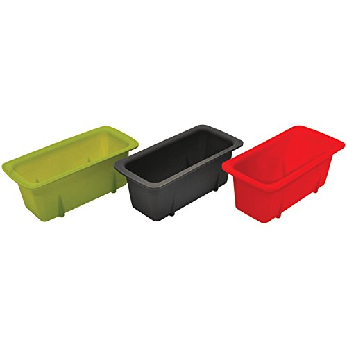 Starfrit Set of 3, Silicone Mini Loaf Pans, Green/Red/Gray